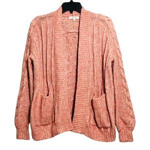 Madewell Wool Open Cardigan Sweater Women XXS Cable Knit Loose Fit Oversize Pink